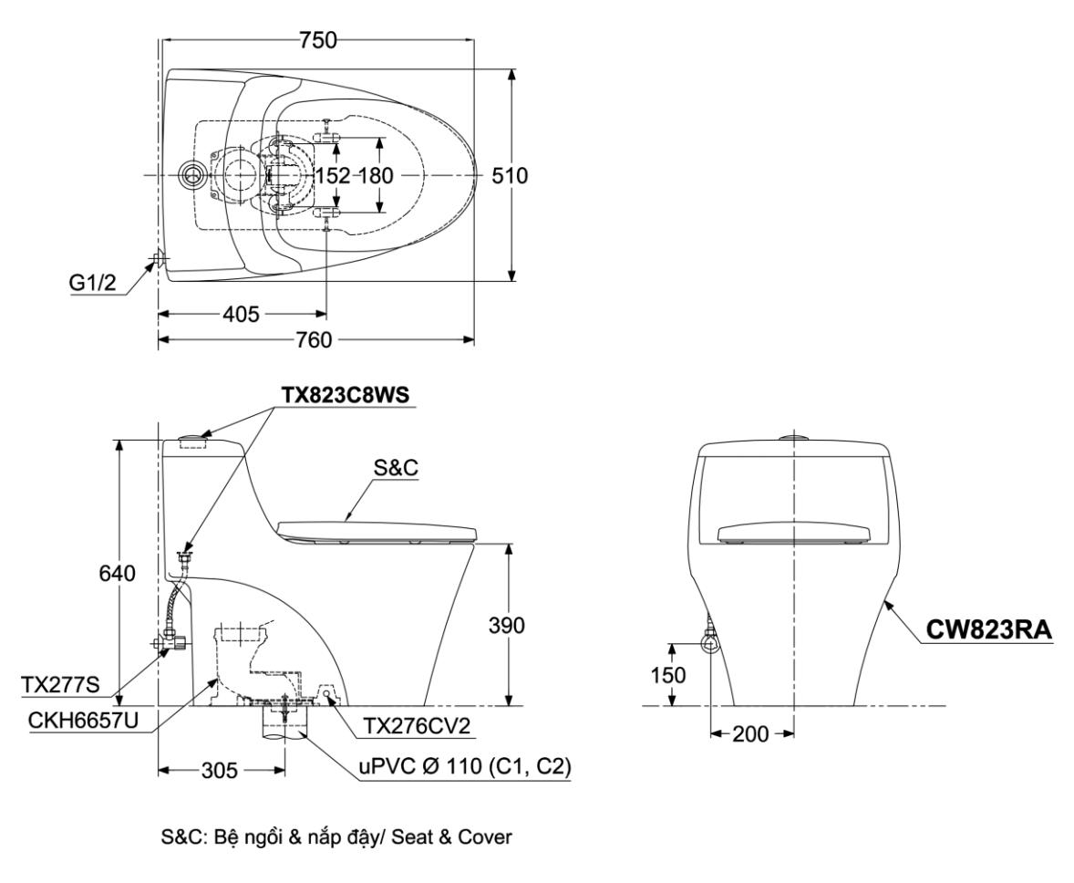 Bàn Cầu TOTO 1 Khối CW823RAE2   Nanomart