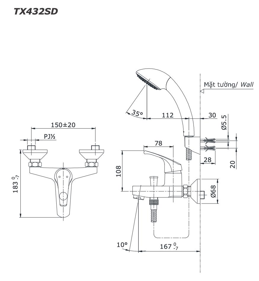 Vòi Sen Tắm Nóng Lạnh TOTO TX432SD   Nanomart
